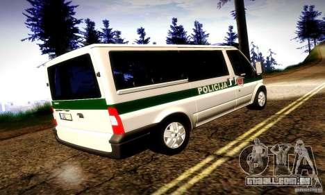 Ford Transit Policija para GTA San Andreas vista direita