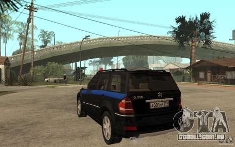 Mercedes Benz GL500 polícia para GTA San Andreas traseira esquerda vista