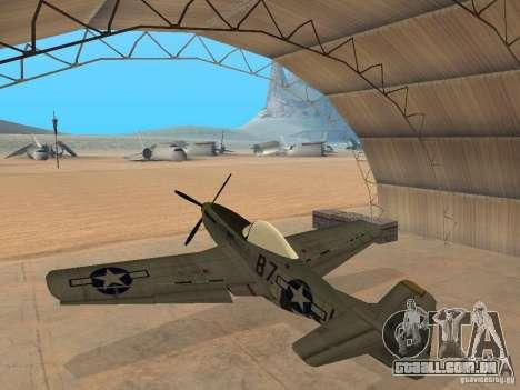 P-51 Mustang para GTA San Andreas esquerda vista