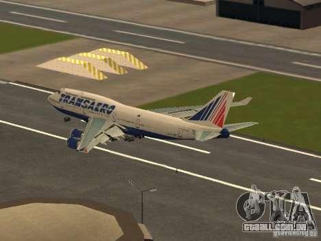 Boeing 747-400 para GTA San Andreas traseira esquerda vista