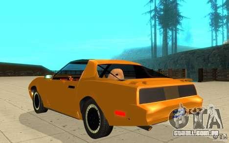 Pontiac Firebird 1989 K.I.T.T. para GTA San Andreas traseira esquerda vista