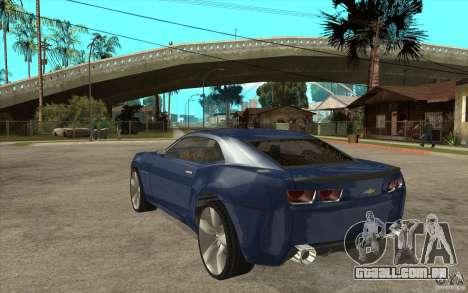 Chevrolet Camaro Concept Tunable para GTA San Andreas traseira esquerda vista