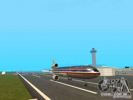 McDonell Douglas MD11 American Airlines para GTA San Andreas esquerda vista