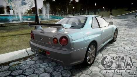 Nissan Skyline GT-R R34 2002 v1 para GTA 4 vista lateral