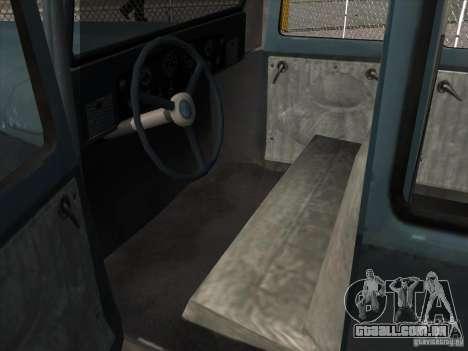 O veículo da segunda guerra mundial para GTA San Andreas vista interior