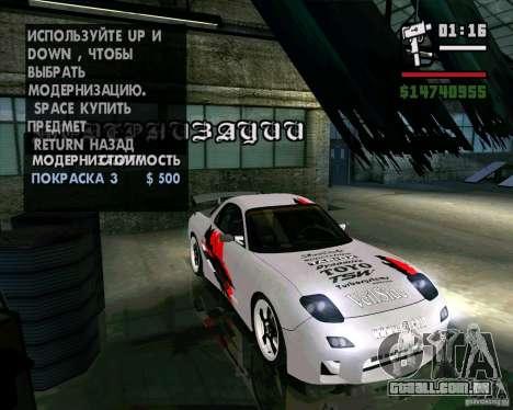 Mazda RX-7 WeaponWar para GTA San Andreas vista traseira