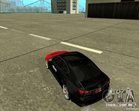 Lexus IS350 de NFS Pro street para GTA San Andreas traseira esquerda vista