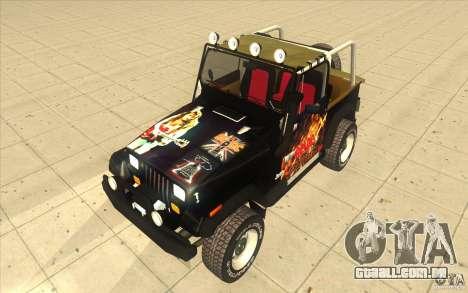 Jeep Wrangler 4.0 Fury 1986 para GTA San Andreas vista traseira