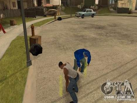 Você pode sentar, fumar, beber uísque, vômitos,  para GTA San Andreas por diante tela