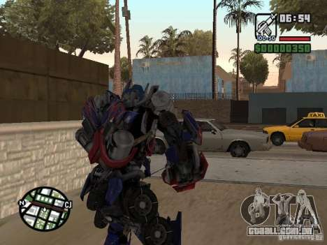 Optimus Prime para GTA San Andreas terceira tela