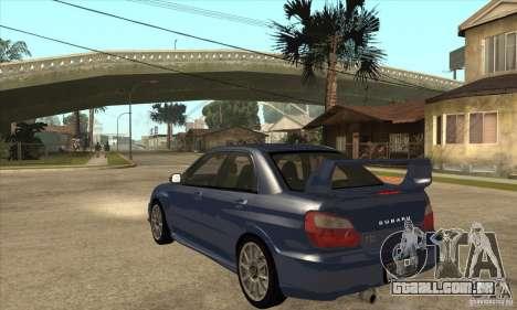 Subaru Impreza WRX STi - Stock para GTA San Andreas traseira esquerda vista
