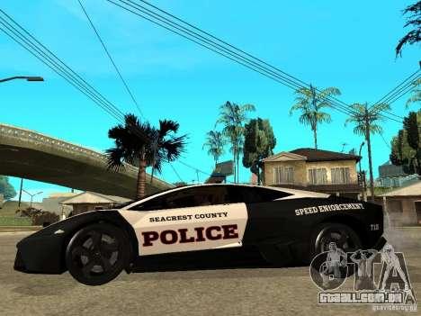 Lamborghini Reventon The Speed Enforcer para GTA San Andreas esquerda vista