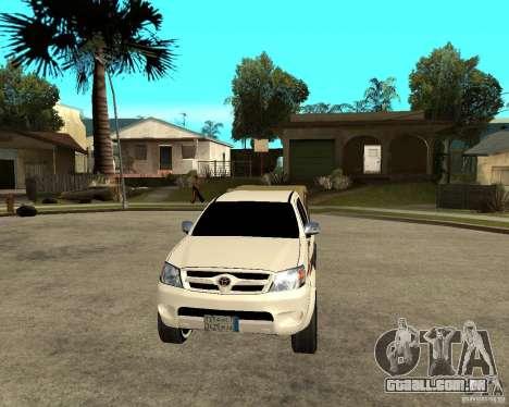 Toyota Hilux 2010 para GTA San Andreas vista traseira
