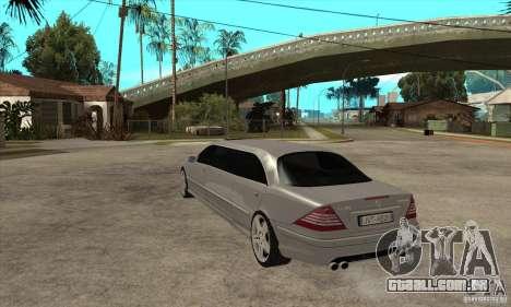 Mercedes-Benz CL65 Limusine para GTA San Andreas traseira esquerda vista