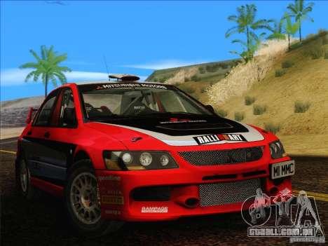 Mitsubishi Lancer Evolution IX Rally para GTA San Andreas traseira esquerda vista