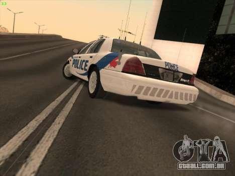 Ford Crown Victoria Vancouver Police para GTA San Andreas esquerda vista