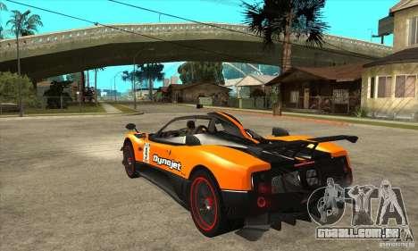 Pagani Zonda Cinque para GTA San Andreas traseira esquerda vista