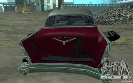 Chevrolet BelAir 4 Door Sedan 1957 para GTA San Andreas vista traseira