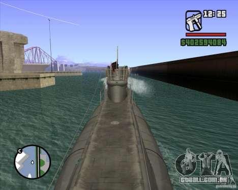 U99 German Submarine para GTA San Andreas por diante tela