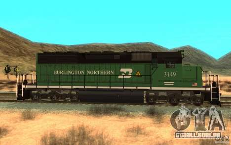 SD 40 Union Pacific Burlington Northern 3149 para GTA San Andreas esquerda vista
