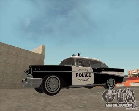 Chevrolet BelAir Police 1957 para GTA San Andreas vista direita
