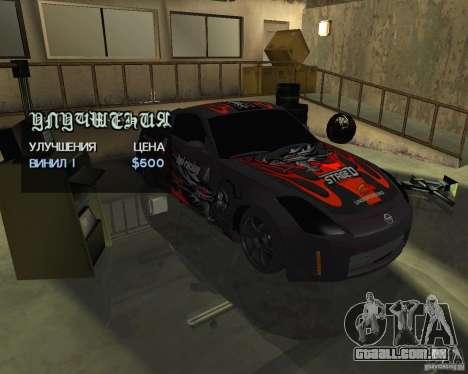 Nissan 350Z Tunable para GTA San Andreas traseira esquerda vista