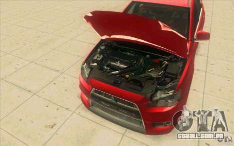 Mitsubishi Lancer Evolution X MR1 para GTA San Andreas vista interior