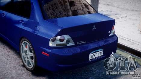 Mitsubishi Lancer Evolution VIII para GTA 4 vista inferior