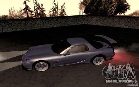 Mazda RX-7 Hellalush para GTA San Andreas traseira esquerda vista