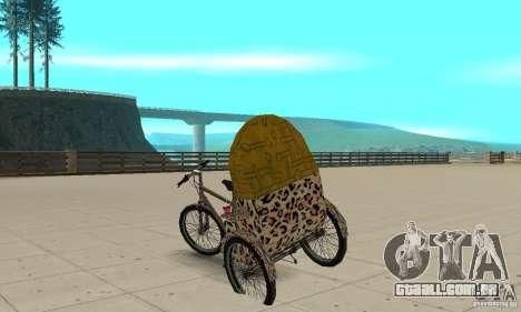 Manual Rickshaw v2 Skin4 para GTA San Andreas traseira esquerda vista