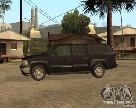 Chevrolet Suburban FBI para GTA San Andreas traseira esquerda vista