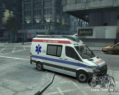 Mercedes-Benz Sprinter Azerbaijan Ambulance v0.1 para GTA 4 traseira esquerda vista
