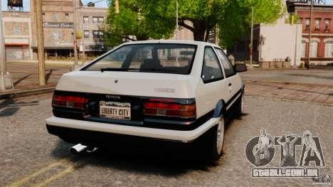 Toyota Sprinter Trueno GT 1985 Apex [EPM] para GTA 4 traseira esquerda vista