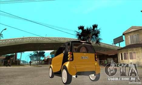 Smart para GTA San Andreas traseira esquerda vista