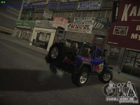 Jeep Wrangler Red Bull 2012 para GTA San Andreas esquerda vista