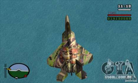 F-22 Raptor Graffity Skin para GTA San Andreas traseira esquerda vista