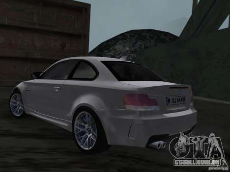 BMW 1M Coupe RHD para GTA Vice City vista traseira esquerda