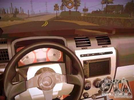 Hummer H3R para GTA San Andreas vista interior