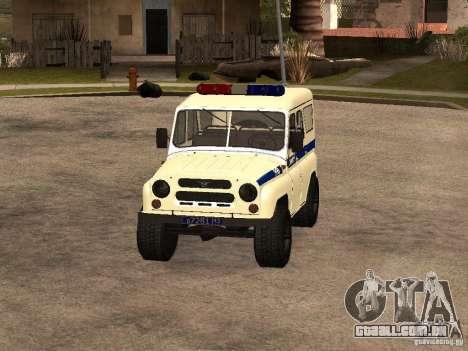 Polícia UAZ para GTA San Andreas esquerda vista
