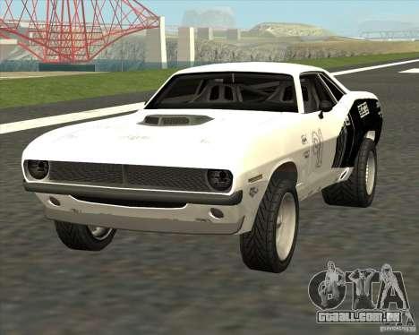 Plymouth Hemi Cuda Rogue para GTA San Andreas traseira esquerda vista