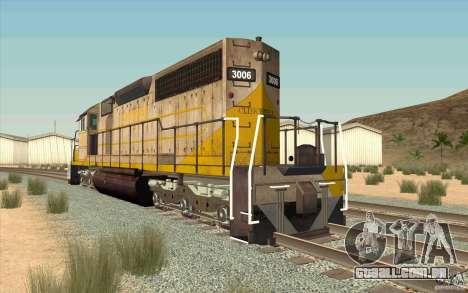 Clinchfield SD40 (Yellow & Grey) para GTA San Andreas traseira esquerda vista