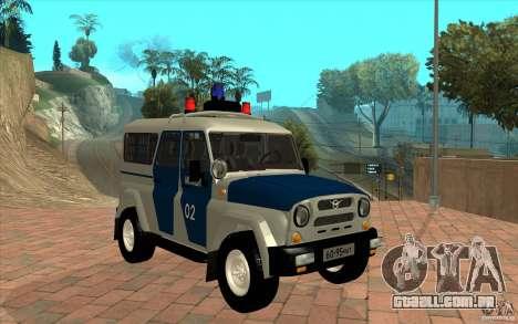 Polícia Bobik UAZ-3159, v. 2 para GTA San Andreas vista traseira