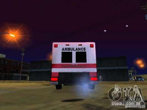 Ambulance 1987 San Andreas para GTA San Andreas vista traseira
