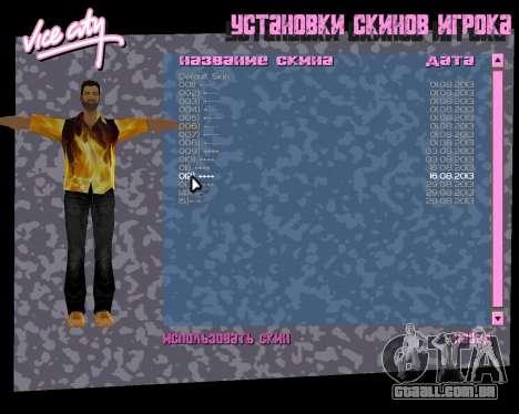 Camisa com chamas para GTA Vice City por diante tela