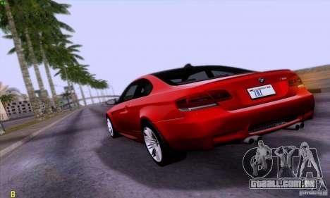 BMW M3 E92 v1.0 para GTA San Andreas esquerda vista
