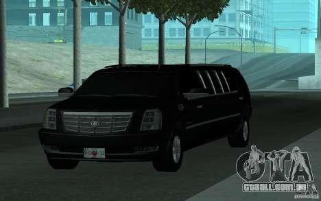 Cadillac Escalade 2008 Limo para vista lateral GTA San Andreas