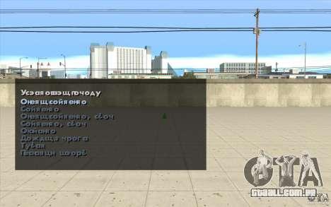 As características do jogo para GTA San Andreas terceira tela