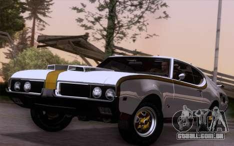 Oldsmobile Hurst/Olds 455 Holiday Coupe 1969 para GTA San Andreas traseira esquerda vista
