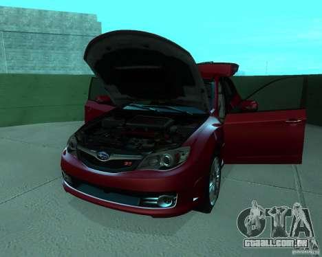 Subaru Impreza WRX STI Stock para GTA San Andreas vista traseira
