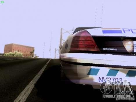 Ford Crown Victoria Canadian Mounted Police para GTA San Andreas traseira esquerda vista